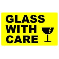 74x130 GLASS WITH CARE - Fluoro Yellow
