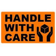 74x130 HANDLE WITH CARE - Fluoro Orange